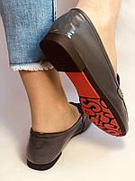 Стильные женские синие туфли-мокасины . Натуральная лакированная  кожа. 37, фото 9