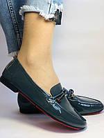 Стильные женские синие туфли-мокасины . Натуральная лакированная  кожа. 37, фото 3
