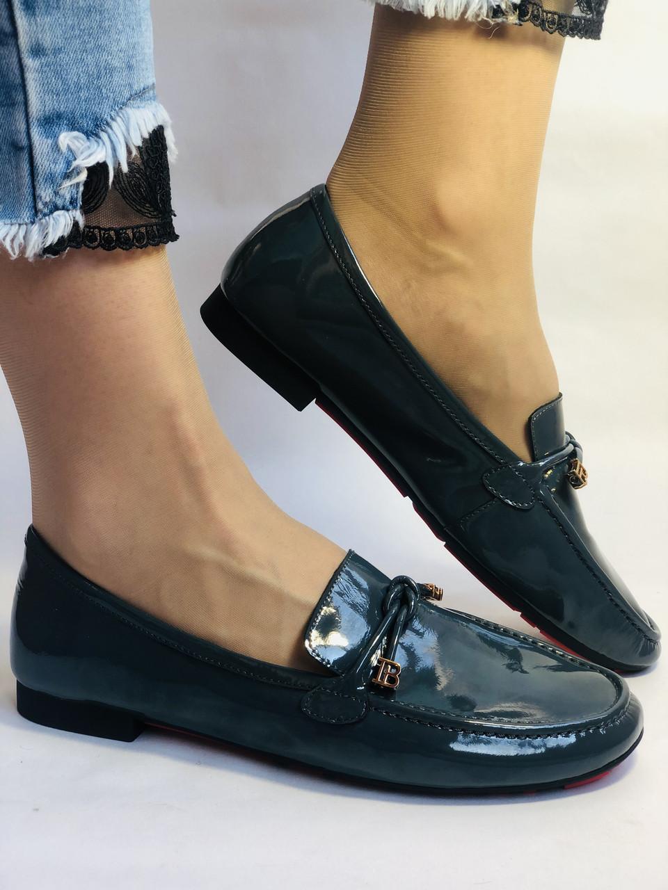 Стильные женские синие туфли-мокасины . Натуральная лакированная  кожа. 37
