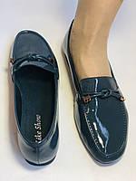 Стильные женские синие туфли-мокасины . Натуральная лакированная  кожа. 37, фото 8