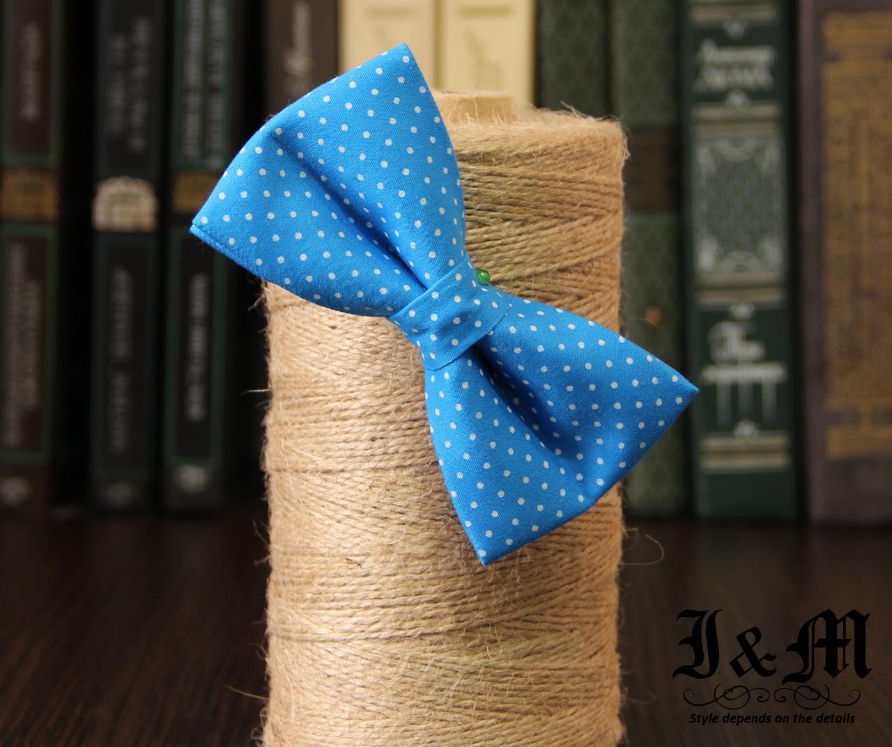 Галстук-бабочка I&M Craft голубой в горошек (010506)