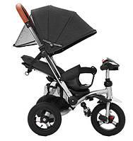 Велосипед коляска трехколесный с родительской телескопической ручкой Tilly Travel интерактивная фара черный