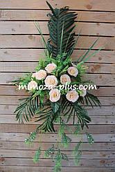Искусственные цветы - Роза с папоротником композиция, 40 см