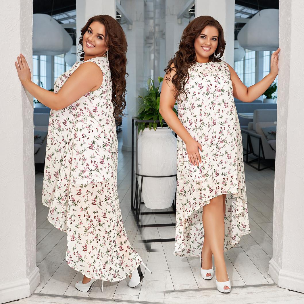 """Літнє жіноче плаття в батальних розмірах 836 """"Шифон Квіти Шлейф Максі"""""""