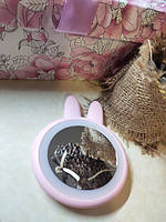Компактное дорожное зеркало для макияжа со светодиодной подсветкой Rabbit Makeup Mirror Розовый
