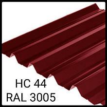 Профнастил НС-44 | 0,45 мм | Мегасити | RAL 3005 PEMA | Южная Корея