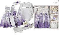 Набор одежды для новорожденного на выписку из роддома для девочки в подарочной упаковке - платье, боди
