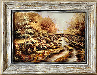 Картина пейзаж из янтаря Под мостом, картина пейзаж з бурштину Під мостом 20x30 см