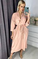 Красивое пудровое женское платье на запах до колен с пояском