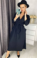 Красивое черноe женское платье на запах до колен с карманами