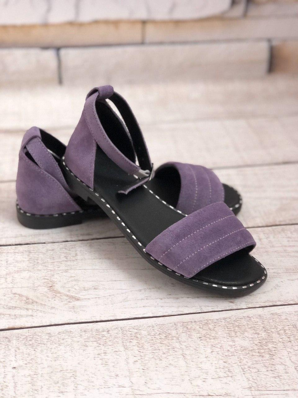 Замшеві босоніжки без каблука, шкіра або замша розміри 36-41