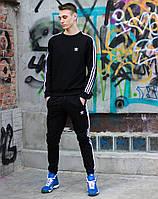 Модный мужской спортивный костюм двойка-свитшот и брюки чёрный с лампасами XS, S, M, L, XL, XXL