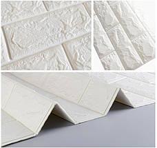 Самоклеющаяся декоративная 3D панель под белый кирпич 700*770*7мм, фото 2