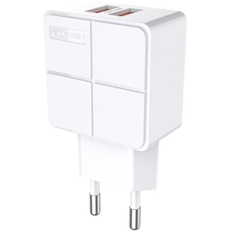 Зарядний пристрій AWEI C-500 Travel charger 2USB 2.4A White