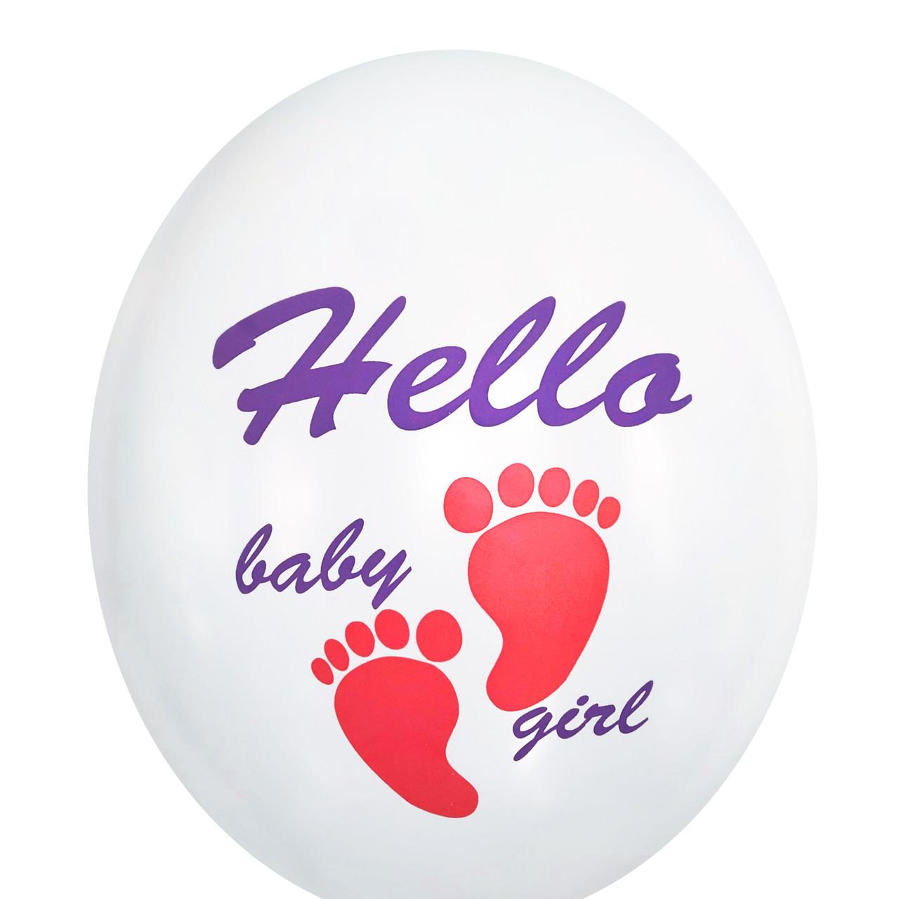 """0490 Шар 12"""" (30 см) """"Hello baby girl"""" ножки на белом (BelBal)"""