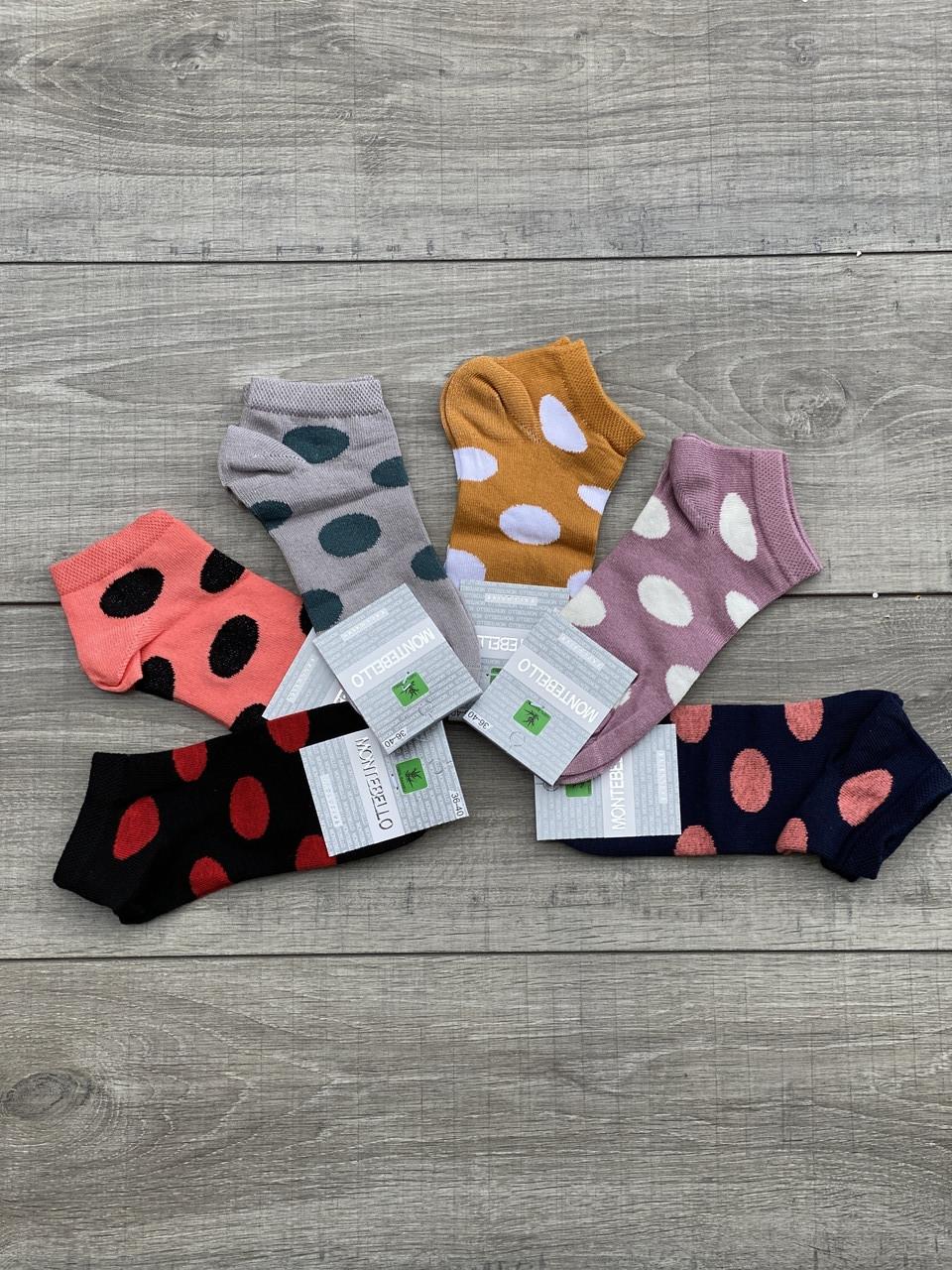 Женские носки короткие хлопок Montebello цветные в горох горошек 35-40 12 шт в уп микс 6 цветов