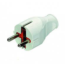 Вилка пряма електрична із заземленням біла Profitec 9090101011