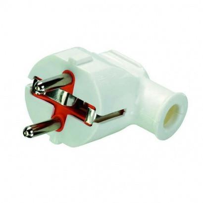 Вилка кутова електрична із заземленням біла Profitec 9090102041