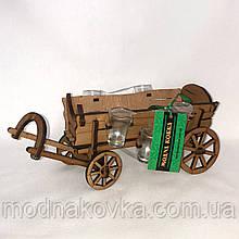 Мини-бар с рюмками деревянный Телега №1 I Подставка под бутылку I Оригинальные подарки