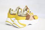 Стильные молодежные кроссовки желтого цвета.Стильні молодіжні кросівки жовтого кольору., фото 4