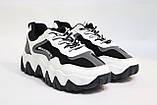 Стильные женские кроссовки бело-черного цвета, сетка. Стильні жіночі кросівки біло-чорні, сіткаи, фото 4