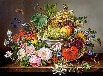 Пазлы на 2000 элементов Натюрморт с цветами и корзиной с фруктами, (Castorland, Польша)