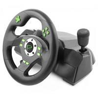 Игровой руль Esperanza для ПК, компьютера, PC, PS3 с педалями и коробкой передач, black-green, черно-зеленый