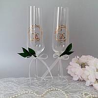Свадебные  бокалы с инициалами, фото 1