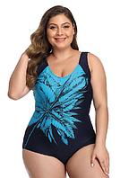 Купальник женский слитный большие размеры 54, 56, 58, 60, 62 р синий с принтом голубой