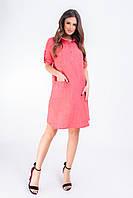 Новинка!!! Стильное платье - рубашка c карманами, арт 831, ткань котон-лён, цвет алый красный