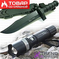 Нож армейский охотничий тактический Columbia USA Спецназ 1358A,чехол-пластик в наборе (фонарик police 8628)