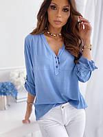 Блузка женская свободного кроя из софта (2 цвета) FL/-1518 - Голубой