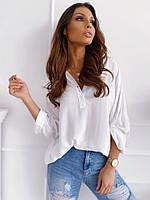 Блузка женская свободного кроя из софта (2 цвета) FL/-1518 - Белый