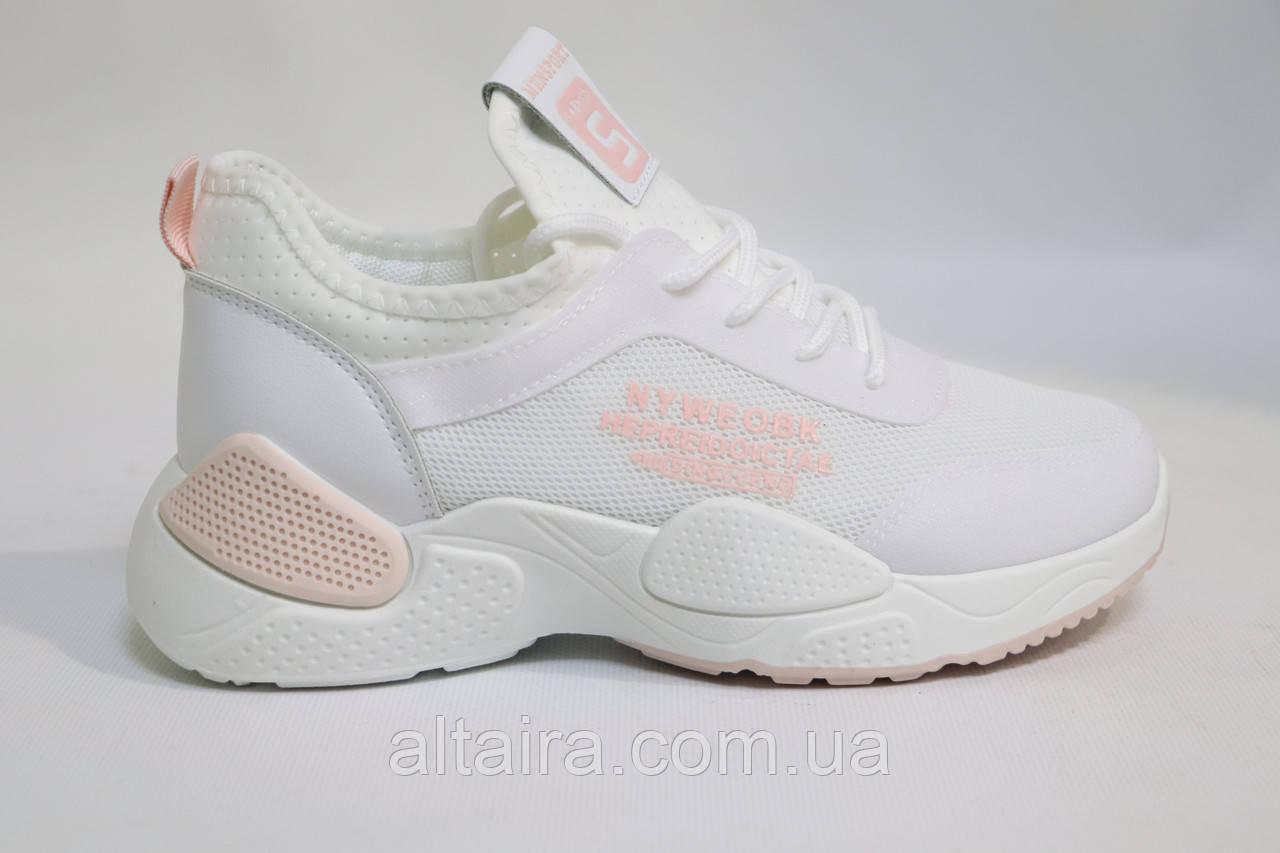 Молодежные женские белые кроссовки, сетка. Молодіжні жіночі білі кросівки сітка.