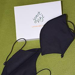 5 шт черная маска защитная трехслойная многоразовая хлопковая. Набор