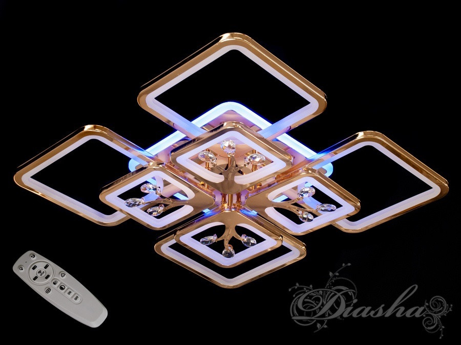 Потолочная люстра с диммером и LED подсветкой, цвет золото 8157/4+4G LED 3color dimmer