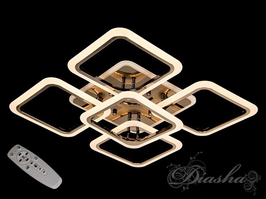 Стельова люстра з діммером і LED підсвічуванням, колір чорний хром 5588/4+1BHR LED 3color dimmer