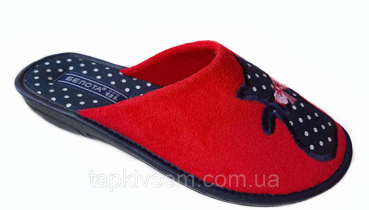 Женские тапочки Belsta с котиками (красные) размер 41
