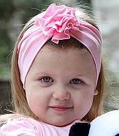 """Повязочка детская на девочку """"Розовая розочка"""", котоновая повязка размеры от младенцев и больше"""