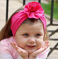 """Повязочка детская на девочку """"Малиновая розочка"""", котоновая повязка размеры от младенцев и больше"""