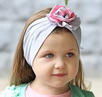 """Повязочка детская на девочку """"Серо-розовая роза"""", котоновая повязка размеры от младенцев и больше"""