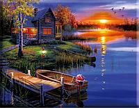 """Набор для вышивания крестиком """"Закат на озере"""" 40х50 см"""
