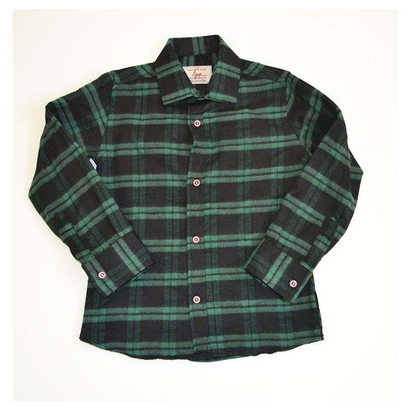 Рубашка утепленная зеленого цвета в клетку для мальчика, A-yugi