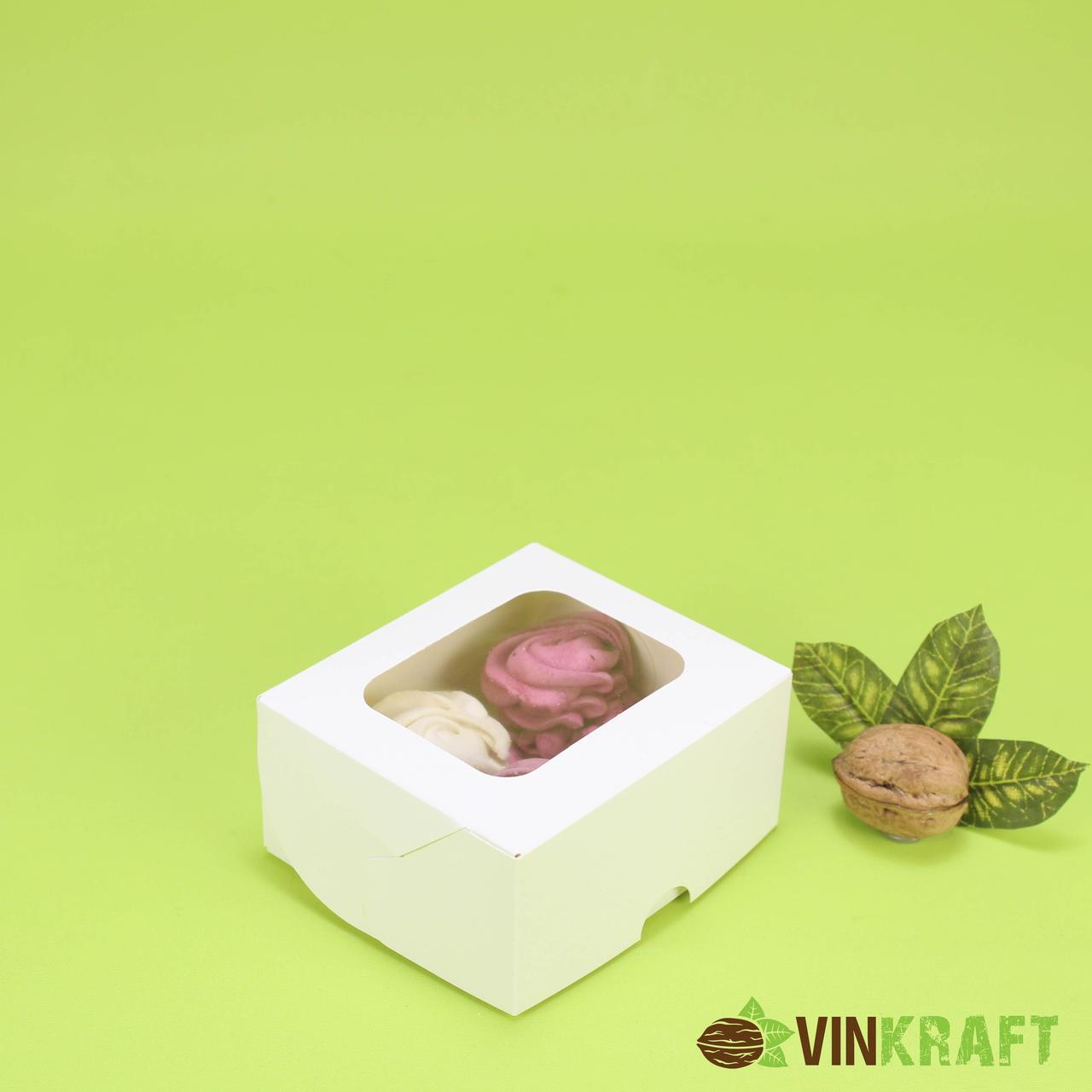 Коробка 100*90*50 з вікном і ламінуванням всередині, для десертів, біла