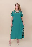 Легкое длинное летнее платье мятное больших размеров Размеры 52, 54, 56, 58.  Хмельницкий, фото 1