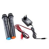 Портативная акустическая система UKC BT-12A в комплекте 2 микрофона