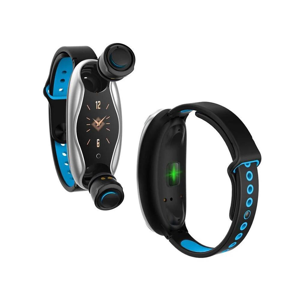 Фитнес браслет Smart + TWS BT T90, фитнес браслет часы с беспроводными наушниками + ПОДАРОК: Держатель для