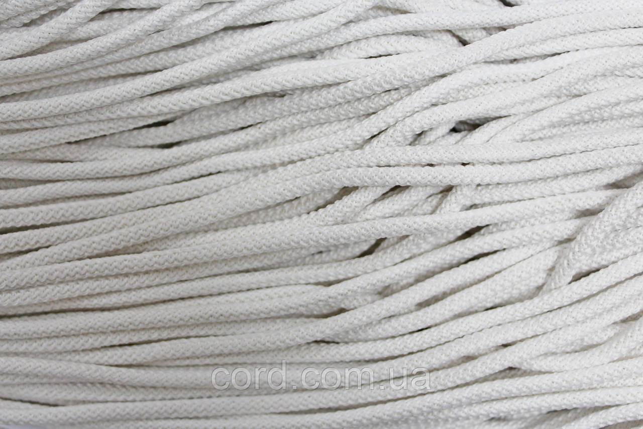 Шнур круглый 4мм плотный 100м белый