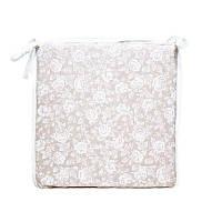 Подушка на стул  white Rose с кружевом 40х40 см