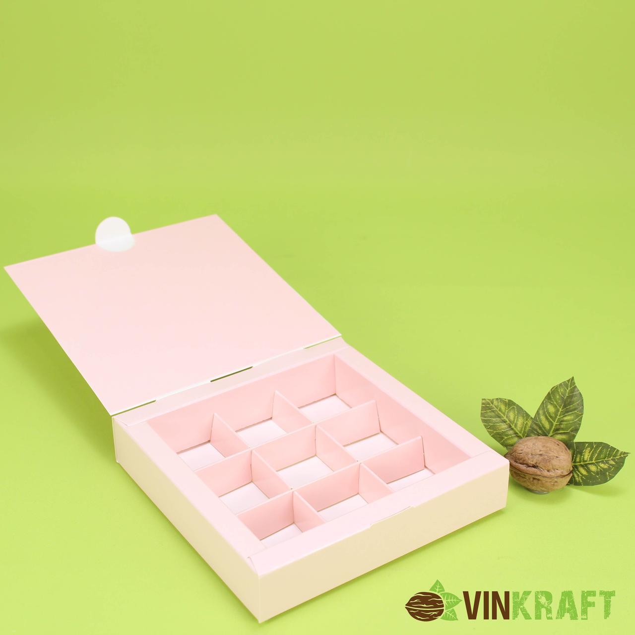 Коробка 150*150*30 для цукерок (9 шт), без вікна, рожева